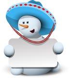 在阔边帽的雪人有白色背景 库存照片