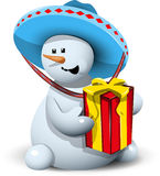 在阔边帽的雪人有礼物的 库存照片