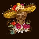 在阔边帽的头骨与死者的花天 免版税库存图片