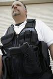 在防弹背心的治安警卫 免版税图库摄影