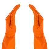 在防护手套的二个现有量 库存照片