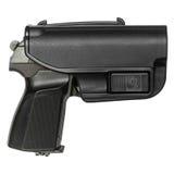 在防护的手枪皮套的枪 免版税库存图片