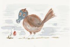 在防毒面具的一只鸟和死开花 免版税库存图片