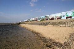 在防波堤上的壁画在Canvey海岛,艾塞克斯,英国上 免版税库存照片