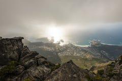 在阵营开普敦,南非湾区的鸟瞰图  免版税库存照片