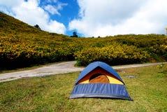 在阵营的旅游帐篷 库存照片