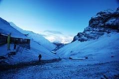 在阵营高尼泊尔附近的annapurna 免版税库存图片