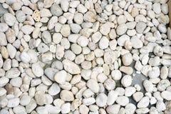 在阵雨地板上的白色小卵石 免版税库存照片