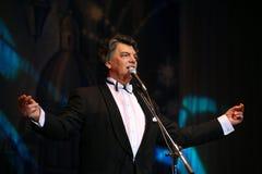 在阶段唱歌的歌剧歌手,演员,流行音乐明星,谢尔盖扎哈罗夫苏联和俄国音乐的神象  库存图片