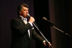 在阶段唱歌的歌剧歌手,演员,流行音乐明星,谢尔盖扎哈罗夫苏联和俄国音乐的神象  免版税库存照片