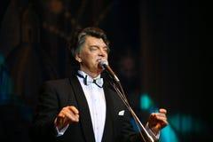 在阶段唱歌的歌剧歌手,演员,流行音乐明星,谢尔盖扎哈罗夫苏联和俄国音乐的神象  免版税库存图片
