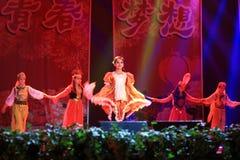 在阶段展示的秀丽跳舞在新年展示 图库摄影