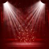 在阶段帷幕的聚光灯有星的。 免版税库存照片