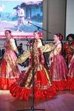 在阶段是舞蹈家和歌手、演员、合唱芭蕾舞团的成员、哥萨克合奏的舞蹈家和独奏者 免版税图库摄影