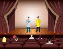 在阶段的动画片交谈者 库存例证