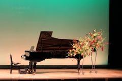 在阶段的大平台钢琴 库存照片