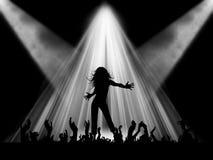 在阶段的女性跳舞 免版税库存照片