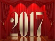 在阶段的新年2017年 免版税库存照片
