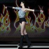 在阶段的美好的少妇跳舞 免版税库存照片