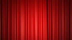 在阶段的闭合值和打开的发光的红色丝绸帷幕 3D与色度钥匙的动画 向量例证
