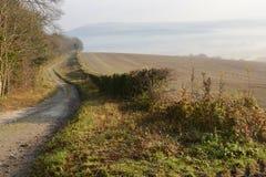 在阿伦德尔附近的有薄雾的乡下。英国 免版税库存图片