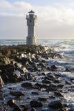 在阿克拉内斯,冰岛港的灯塔  库存照片
