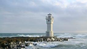 在阿克拉内斯,冰岛港的灯塔  股票录像