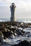 在阿克拉内斯,冰岛港的灯塔  免版税图库摄影