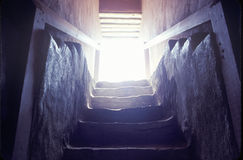 在阿兹台克印地安废墟的楼梯,拉普拉塔, NM 图库摄影
