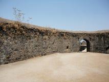 在阿利巴格,印度的Murud Janjira堡垒 库存图片