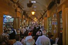 在阿勒颇繁忙的Souk的部分的看法在叙利亚 免版税库存图片