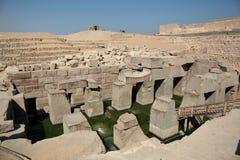 在阿卜耶伊,埃及的Osirion寺庙 图库摄影