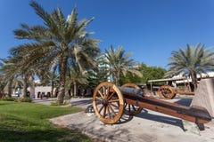 在阿吉曼musuem的历史的大炮  库存图片