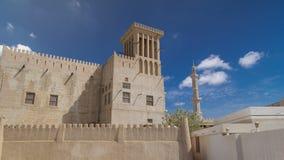 在阿吉曼timelapse hyperlapse,阿联酋博物馆的历史的堡垒  免版税库存照片