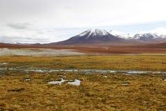 在阿塔卡马沙漠虚度谷或瓦尔de la与火山的月/月球风景 免版税图库摄影