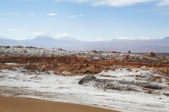 在阿塔卡马沙漠虚度谷或瓦尔de la月/月球风景 免版税图库摄影
