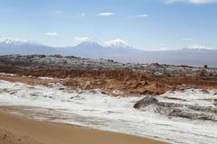 在阿塔卡马沙漠虚度谷或瓦尔de la月/月球风景 库存照片