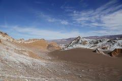 在阿塔卡马沙漠虚度谷或瓦尔de la月/月球风景 图库摄影