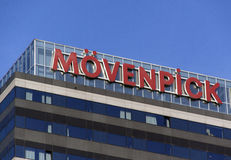 在阿姆斯特丹在一家旅馆的movenpick上写字 库存照片