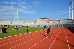在阿姆斯特丹奥林匹克体育场里面 库存图片
