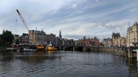 在阿姆斯特丹生动描述的风景,荷兰 免版税库存图片