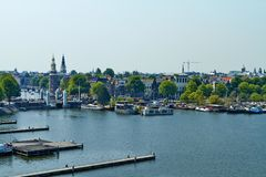 在阿姆斯特丹的观点 免版税库存照片