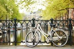 在阿姆斯特丹街道上的自行车在城市 免版税库存图片