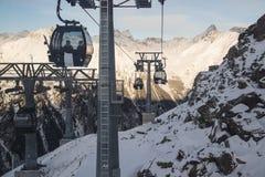 在阿尔卑斯山的空中览绳 奥地利, Ischgl 免版税库存图片