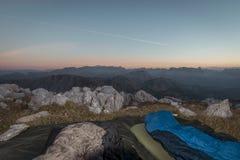 在阿尔卑斯的日出 免版税库存照片