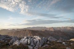 在阿尔卑斯的日出 库存照片