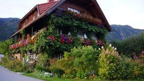 在阿尔卑斯的背景的绿叶浸没的奥地利房子 库存照片