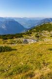 在阿尔卑斯的滑翔伞, Dachstein山,奥地利 免版税库存图片