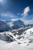 在阿尔卑斯美好的谷视图间 免版税库存照片
