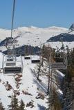 在阿尔卑斯Staetz的驾空滑车 免版税库存图片